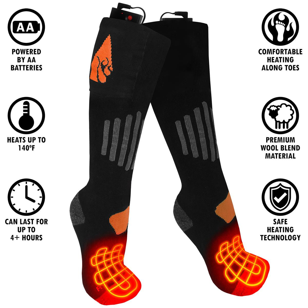 ActionHeat AA Battery Heated Socks - Wool - Info