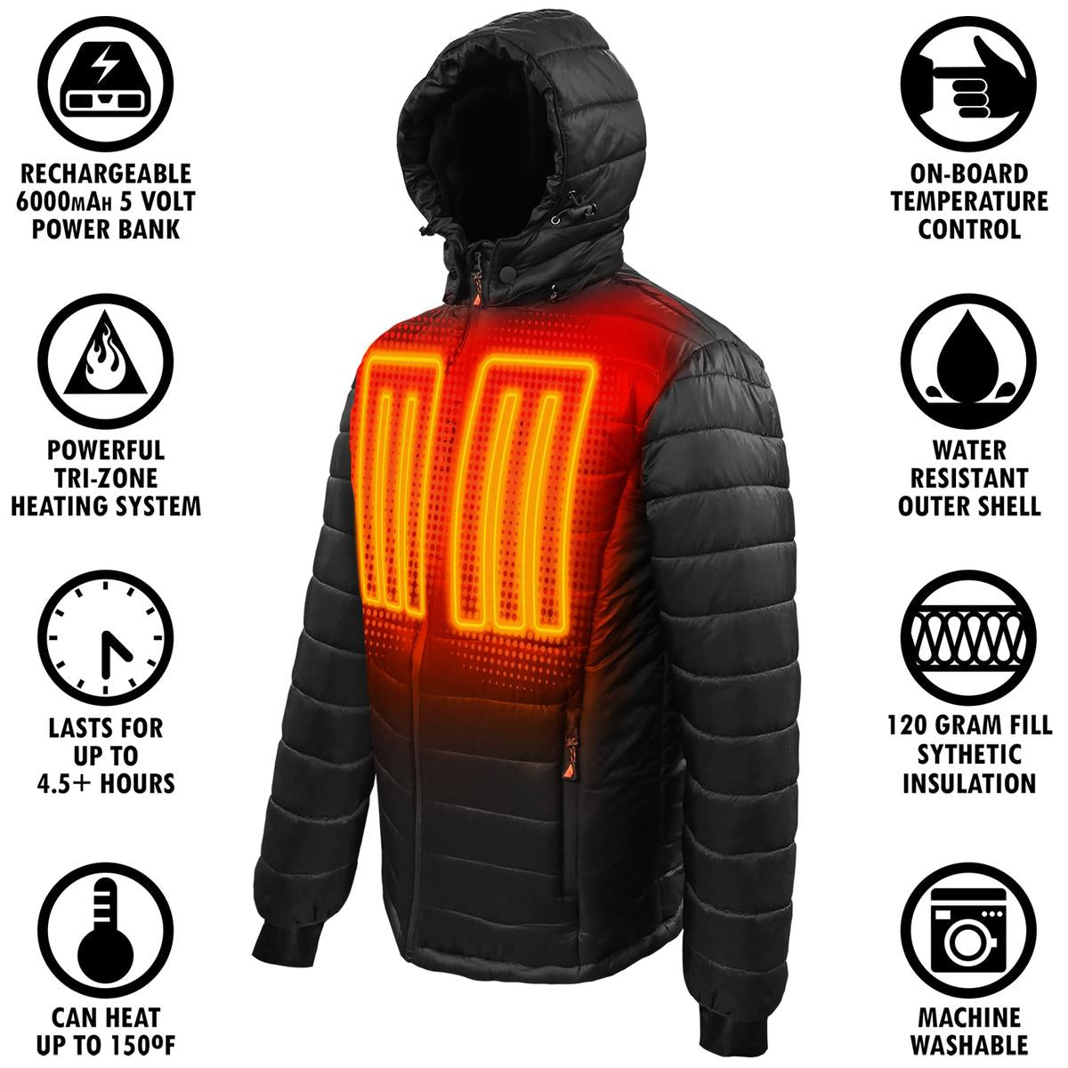 ActionHeat 5V Battery Heated Puffer Jacket for Kids - Back