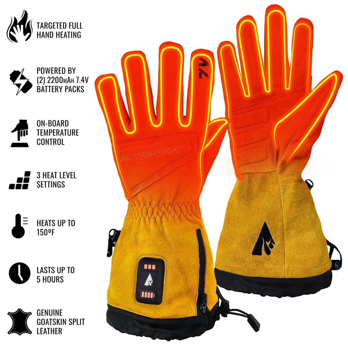ActionHeat 7V Rugged Leather Heated Work Gloves - Back