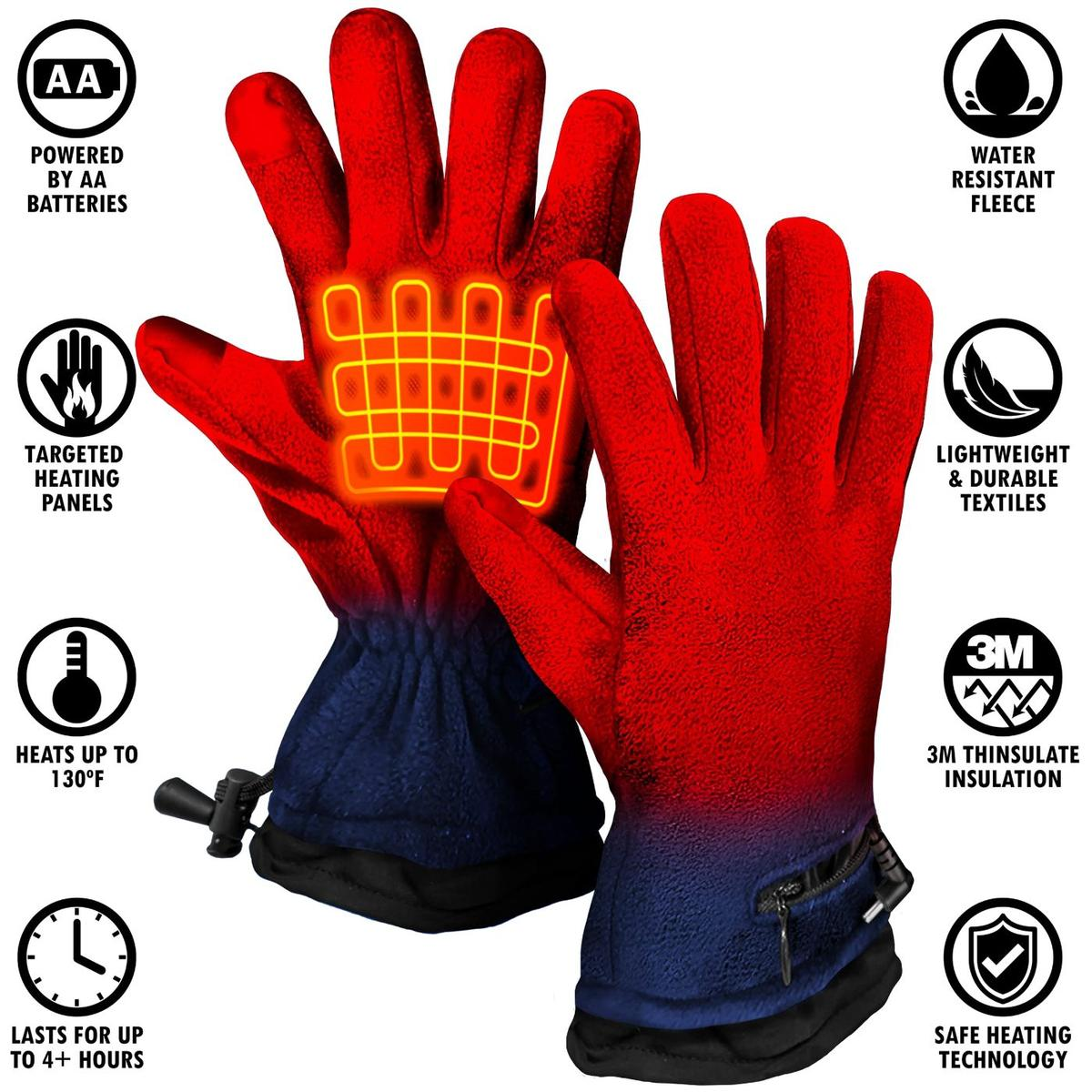 ActionHeat AA Battery Heated Fleece Gloves - Info