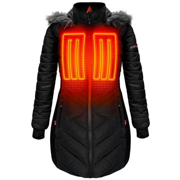 ActionHeat 5V Heated Long Puffer Jacket W/ Hood - Women's - Front