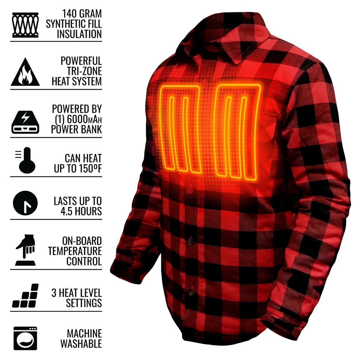ActionHeat 5V Battery Heated Flannel Shirt - Info