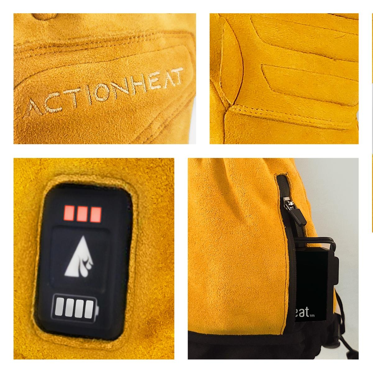 ActionHeat 7V Rugged Leather Heated Work Gloves - Full Set