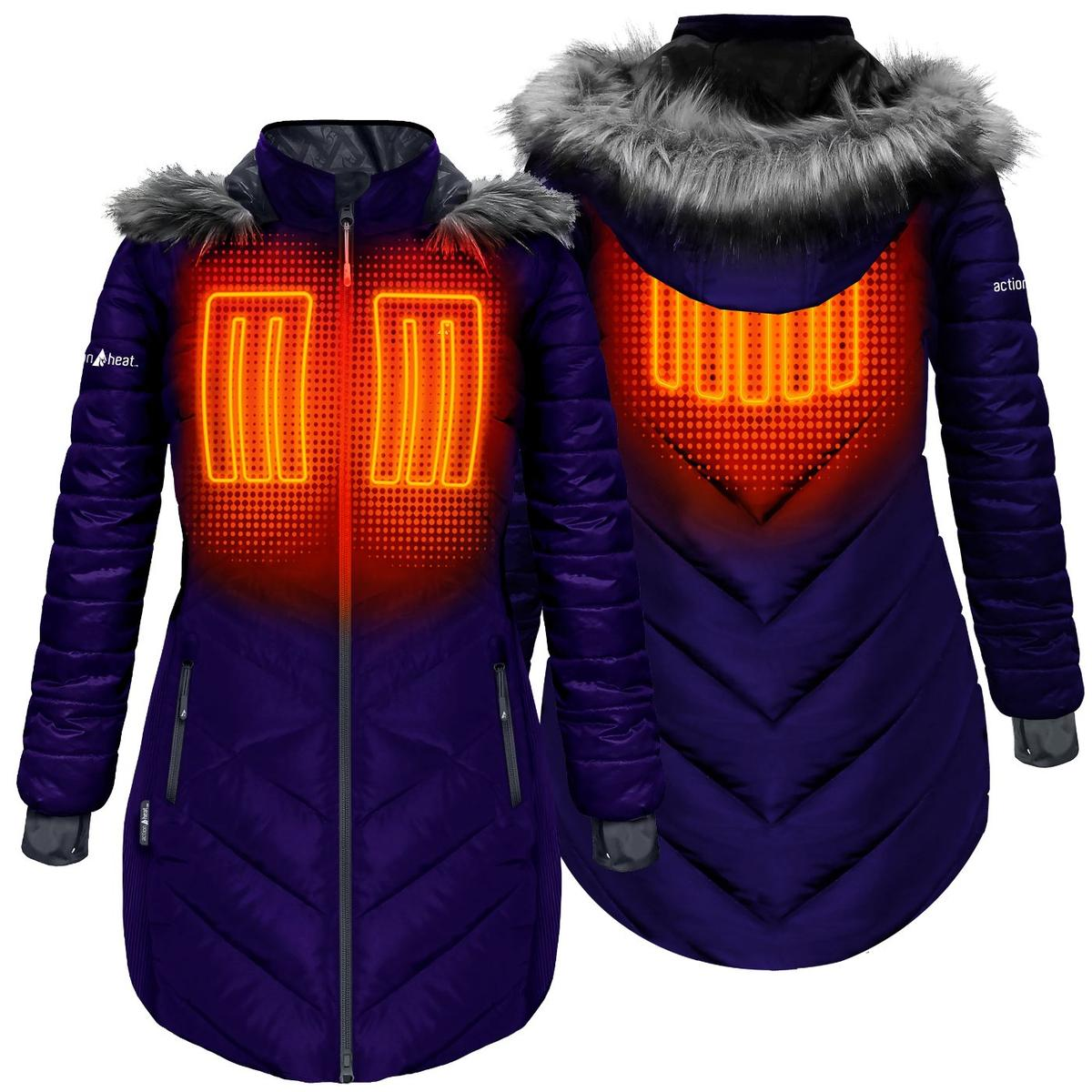 ActionHeat 5V Heated Long Puffer Jacket W/ Hood - Women's - Back