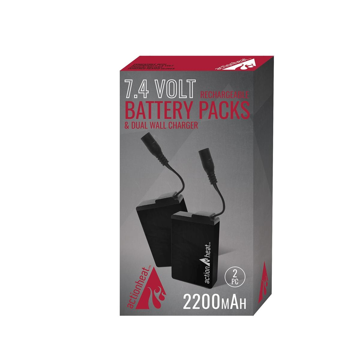 ActionHeat 7V 2200mAh Battery & Charger Kit - Back