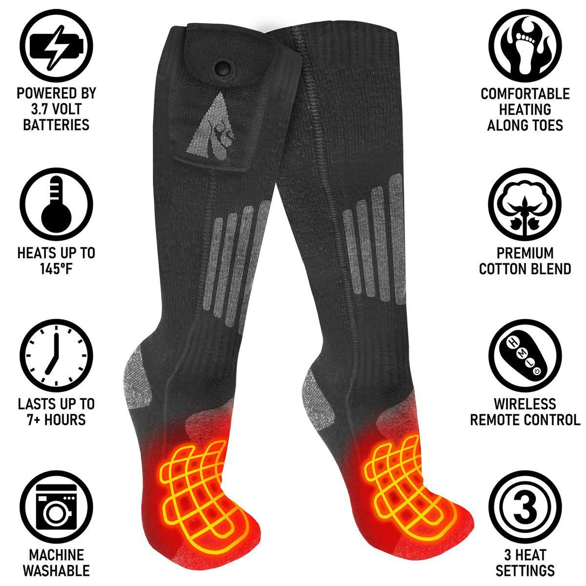 Open Box ActionHeat Cotton 3.7V Rechargeable Heated Socks 2.0 with Remote - Back