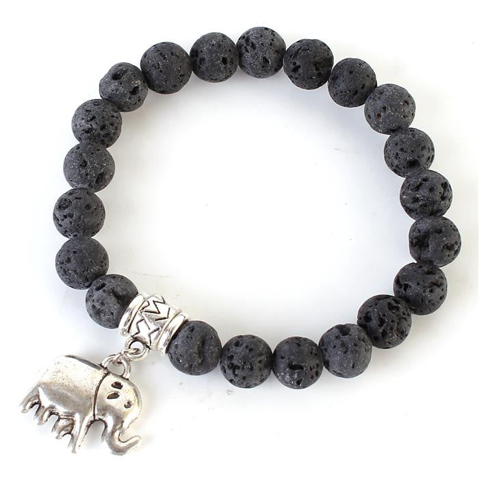Stackable Spiritual Beads Natural Stone with Elephant charm (Black)