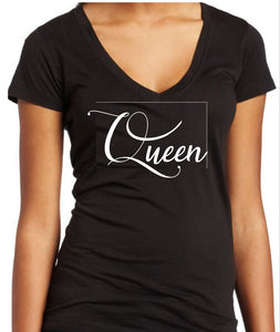 """Queen"" V-Neck Custom Tee"