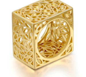 Square Biz Gold Sculptured Ring