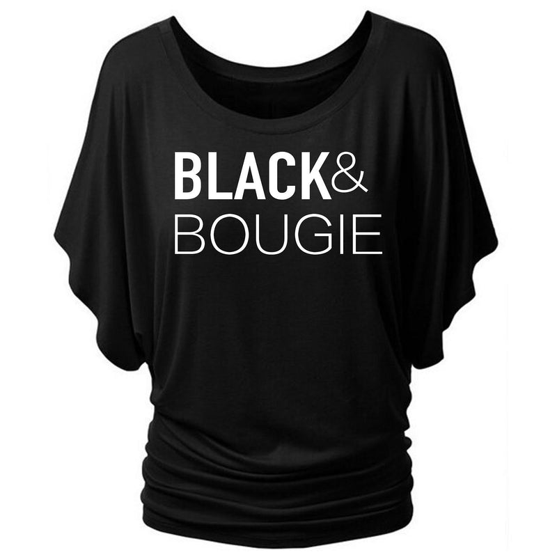 BLACK & BOUGIE BAT WING TEE