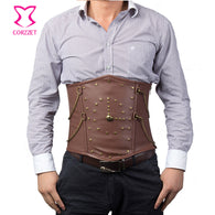 Vintage Rivet Chain Brown Corset For Men