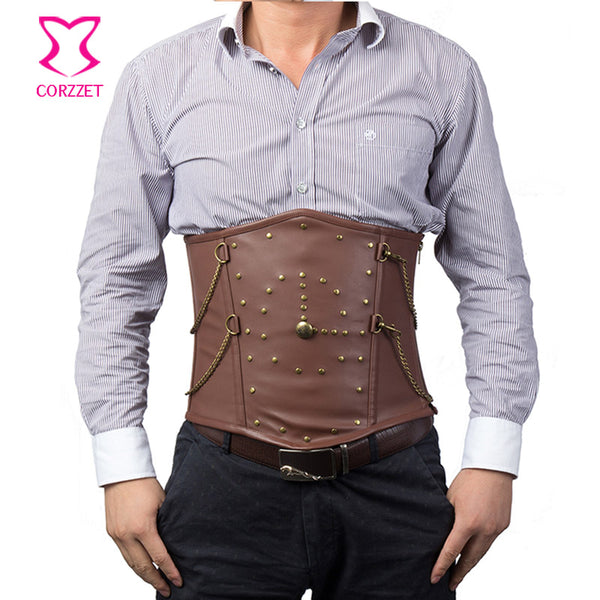 Vintage Rivet Chain Brown Corset For Men - Merchant of the Universe