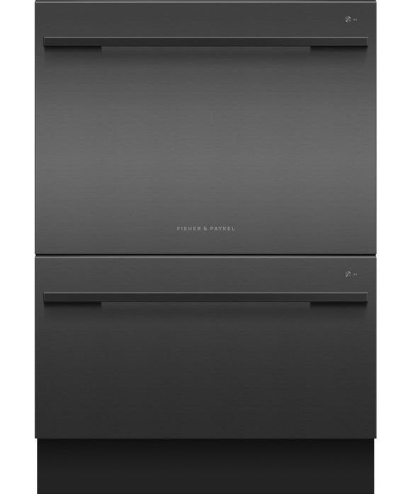 Fisher & Paykel Double DishDrawer™, 14 Place Settings, Sanitize (Tall) Black Stainless Steel