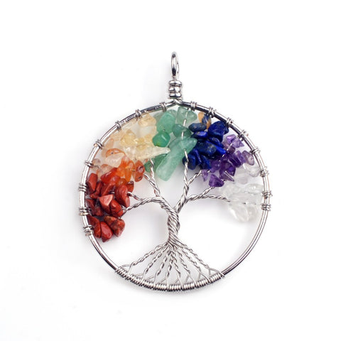 Handcrafted Natural 7 Chakras Stones Tree of Life Pendant