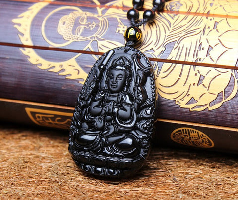 [30% OFF] Natural Black Obsidian Lucky Amulet Eight Buddha Chinese Animals Protectors