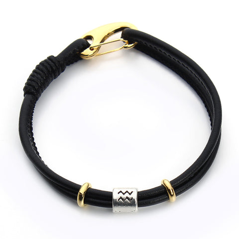 Friendship Black Leather Bracelet,  - Zodiac Jewelry Store