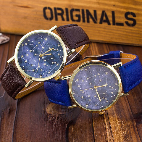 Casual Woman Wrist Watch Quartz Night Sky Glass Case 6 Watch Straps Colors,  - Zodiac Jewelry Store