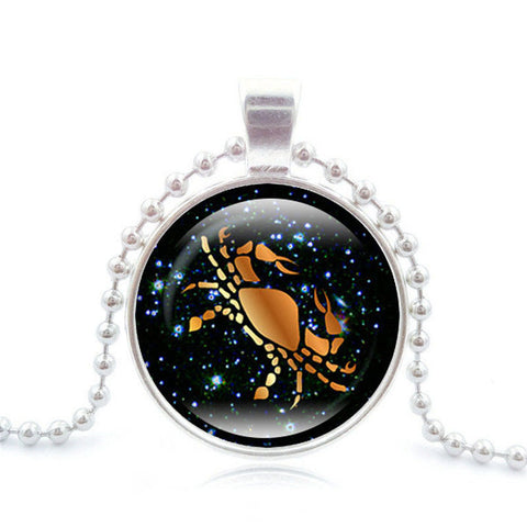 12 Zodiac Constellation Glass Pendant,  - Zodiac Jewelry Store