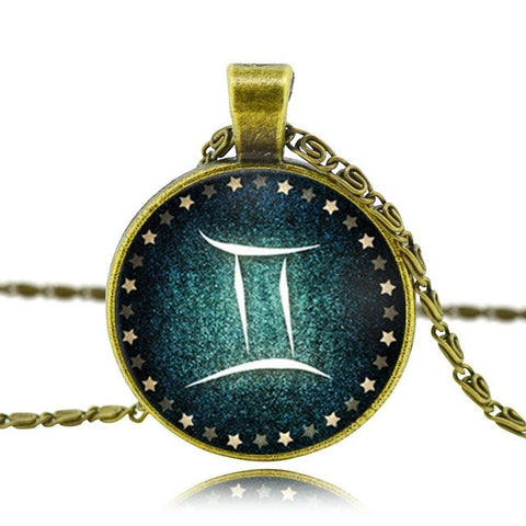 Retro Vintage Glass Pendant antique Bronze,  - Zodiac Jewelry Store