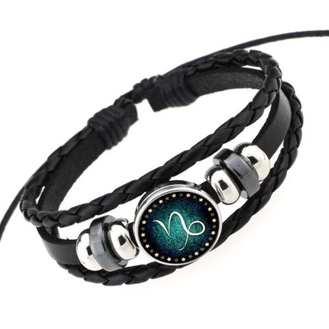 Glassy Vintage Sign Braided Black Leather Bracelet,  - Zodiac Jewelry Store