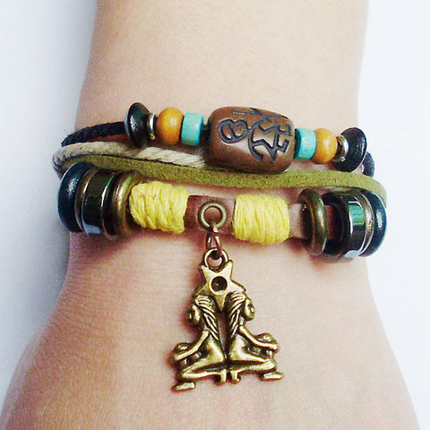 Surfer's style Braided Charm Hemp Bracelet ALL 12 Signs,  - Zodiac Jewelry Store