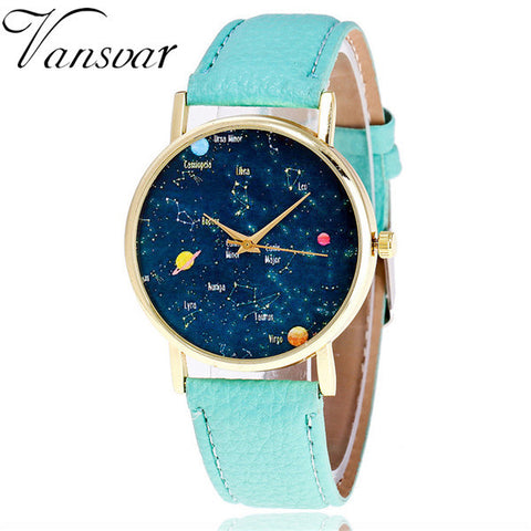 Casual Woman Wrist Watch Quartz Galaxy Glass Case 6 Watch Straps Colors,  - Zodiac Jewelry Store