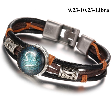 12 Zodiac Constellation Bracelets Horoscope Punk Anchor Leather Bracelet,  - Zodiac Jewelry Store