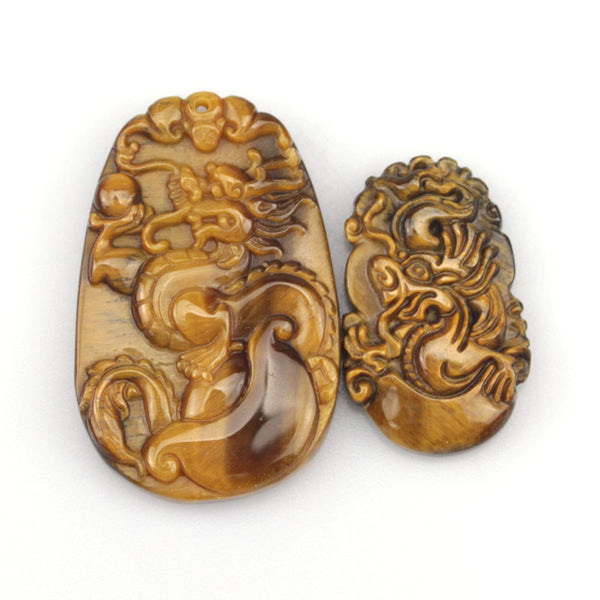 Natural Tiger Eye Pendant  Pendant Carved Dragon,  - Zodiac Jewelry Store