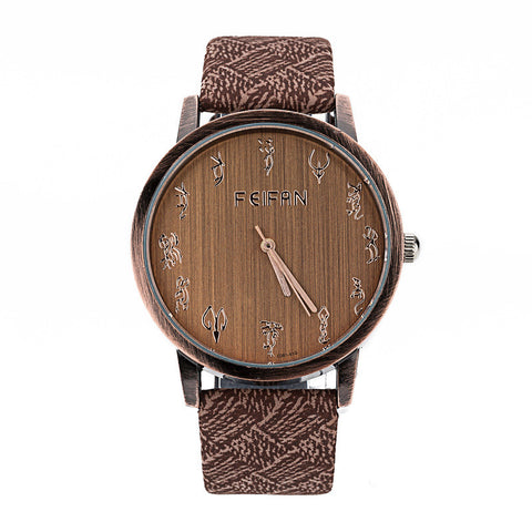 Wooden Fashion Zodiac Watch for Ladies