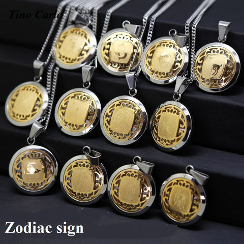 [-10$] Round Solid Stainless Steel Unisex Lover's Pendant Gold and Silver Tone,  - Zodiac Jewelry Store
