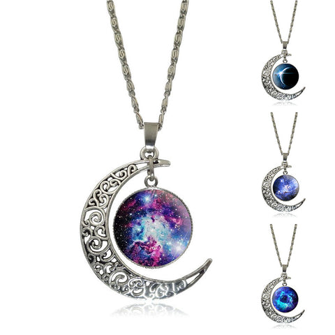 Crescent Moon Deep Space Glass Marble pendant,  - Zodiac Jewelry Store