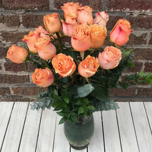 Long Stem Roses - Coral Peach & Chocolates