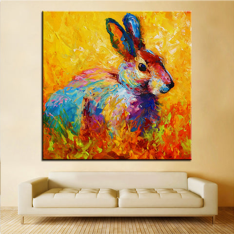 Large size Printing Oil Painting forest bunny No Frame - Bunny Lovers