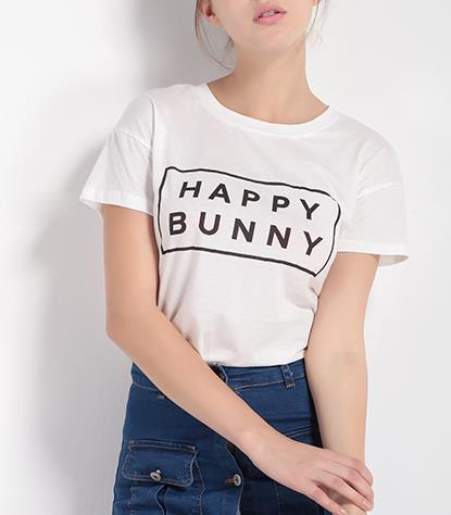 HAPPY BUNNY Letters Print Women T shirt - Bunny Lovers