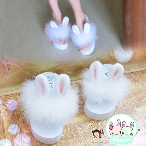Girl Rabbit Bunny Ear Plush Shoes Wedge Platform Slippers - Bunny Lovers