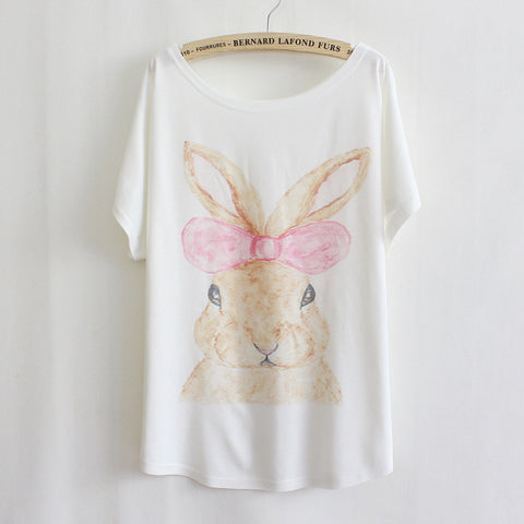 Style Fashion Women T-Shirt Bow Bunny Print - Bunny Lovers