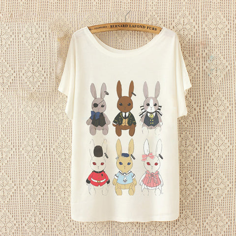 Women Loose Casual T-Shirt little bunny - Bunny Lovers