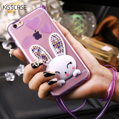Hi Apple iPhone 5 SE Case Fashion Clear Bling Crystal 3D Rabbit Cover For iPhone 6 7 - Bunny Lovers