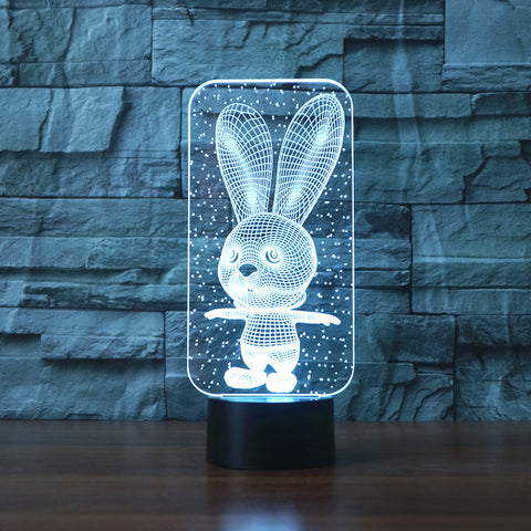 3D LED Big Ears Rabbit Bunny Lamp Atmosphere lamp 7 Color Changing - Bunny Lovers