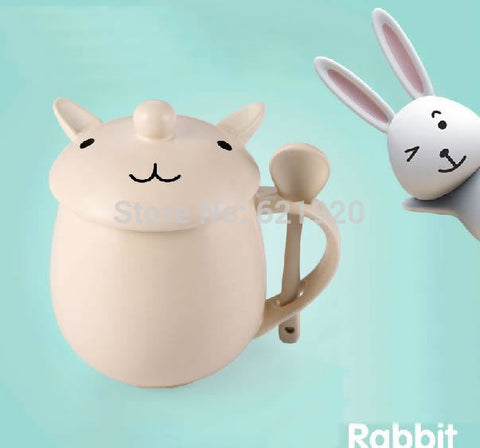 Creative cartoon cup love white bunny mug cute - Bunny Lovers