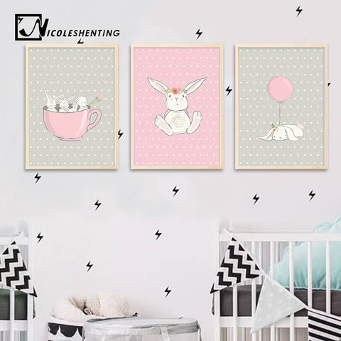 Cute Pink Rabbit Bunny Wall Art Canvas Posters - Bunny Lovers