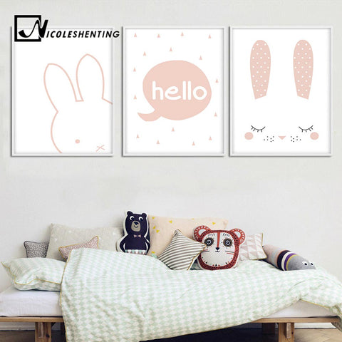 Bunny Head Wall Art Canvas Poster - Bunny Lovers