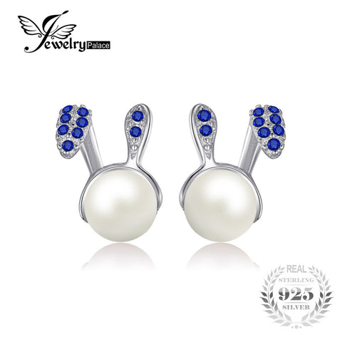 Bunny Easter Created Blue  Round Pearl Stud Earrings 925 Sterling Silver - Bunny Lovers