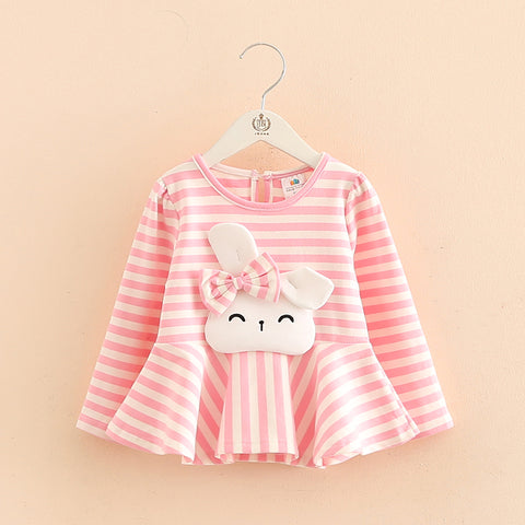 bunny Girls blouse kids White pink stripe - Bunny Lovers
