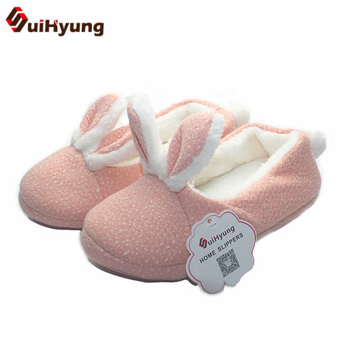 Cute Bunny Indoor Plush Soft Bottom Slippers - Bunny Lovers