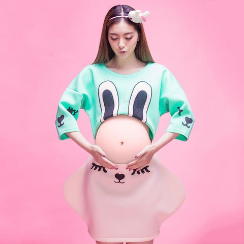 Comfortable Pregnant Women Elastic Dress Cute Bunny Pattern Maternity Dress - Bunny Lovers