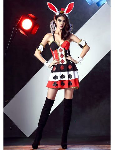 Alice In Wonderland Cosplay Red Queen of Hearts Rabbit fancy Dress - Bunny Lovers