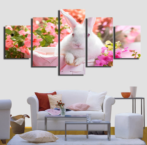Print Bunny Rabbit Easter Canvas Painting 5 Pieces Wall Art Unframed - Bunny Lovers