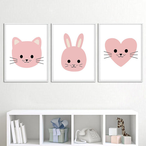 Art Canvas Poster Print Cartoon bedroom Decor - Bunny Lovers
