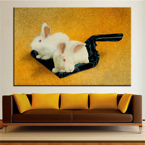 Large size Printing Oil Painting dust bunnies Wall Art Picture For Living Room painting No Frame - Bunny Lovers